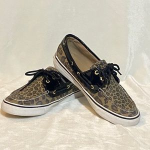 Sperry Topsider Brown Leopard Loafers